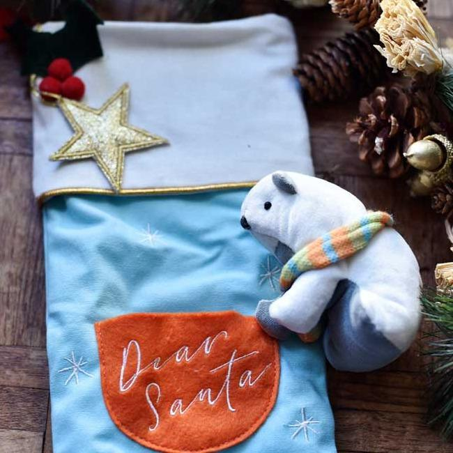 Blue Polar Bear Christmas Stocking