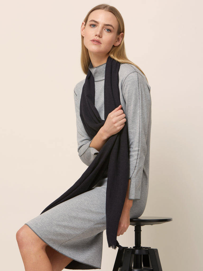 Charcoal Fringed Scarf
