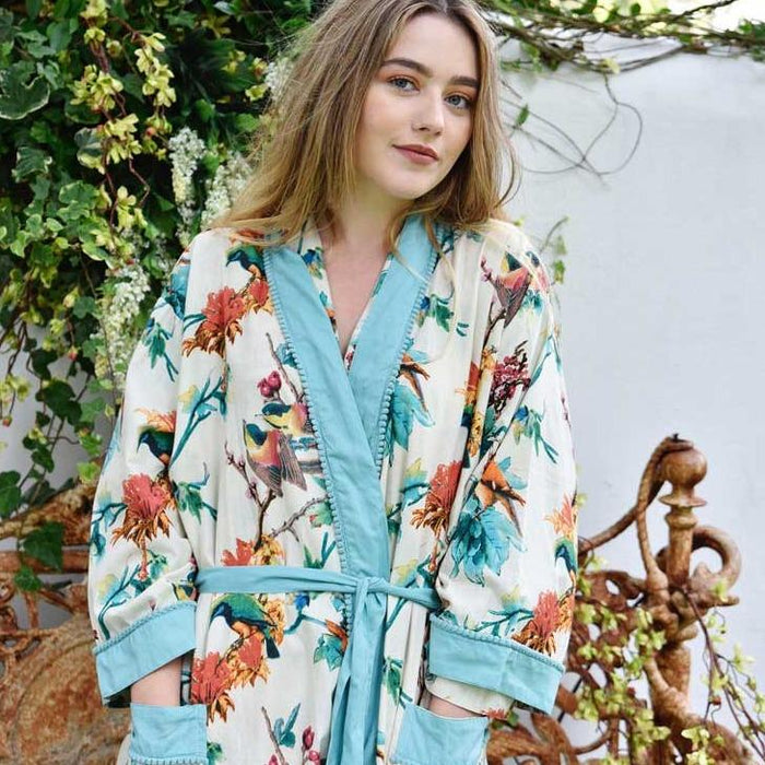 Turquoise Hummingbird Ladies Dressing Gown