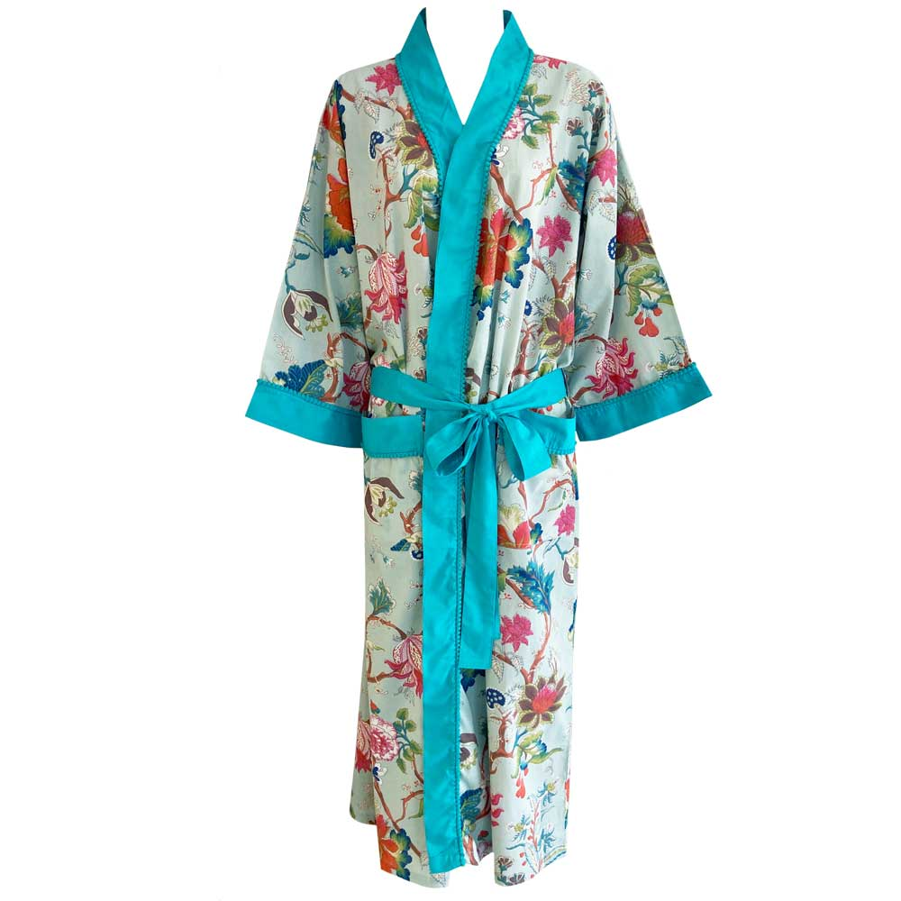 Blue Floral Ladies Dressing Gown - One Size