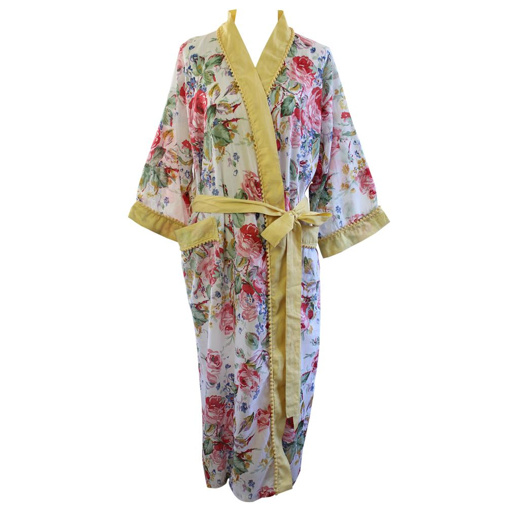 Floral Lemon Pom Pom Ladies Dressing Gown - One Size
