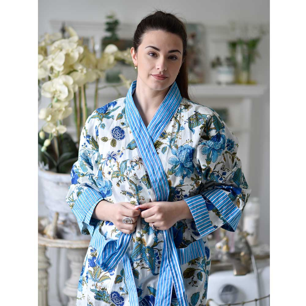 Blue Rose Ladies Dressing Gown - One Size