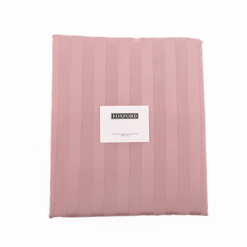 Foxford Classic Sateen Stripe Duvet Cover in Dusty Pink