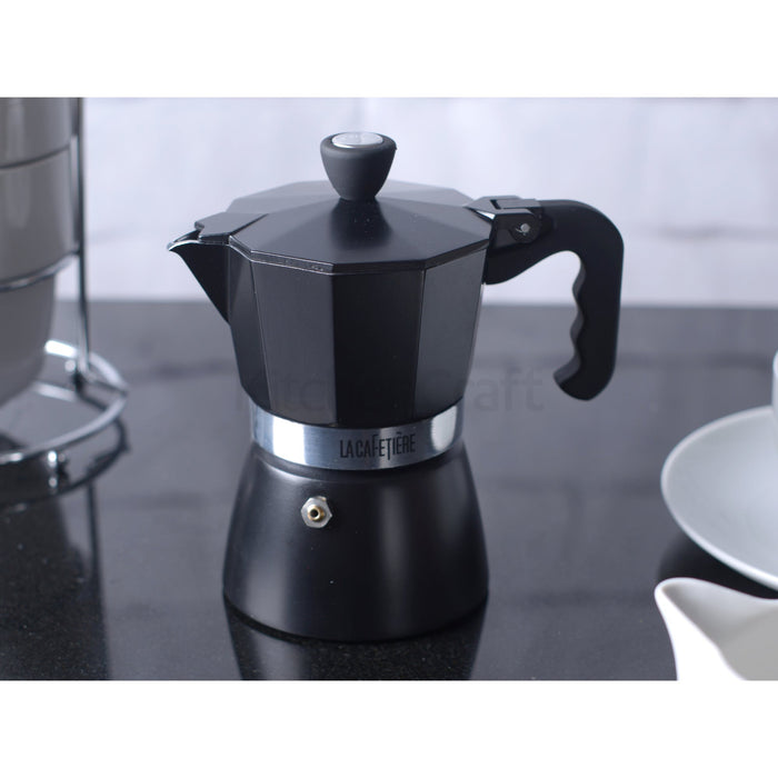3 Cup Black Polished Espresso Pot
