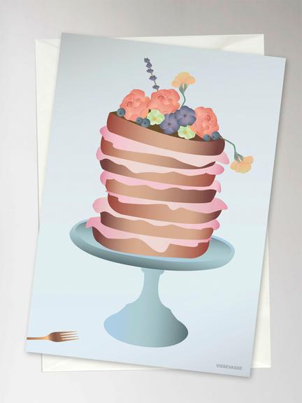 Cake with Flowers Greetings Card