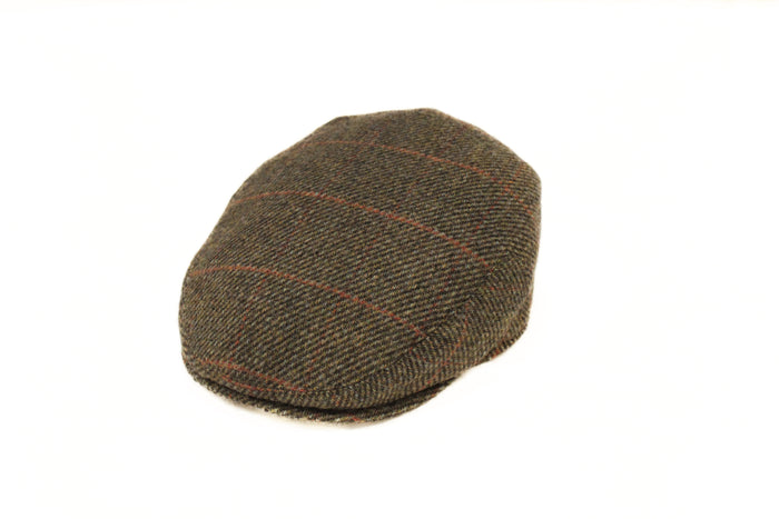 Brown and Red Windowpane Flat Cap