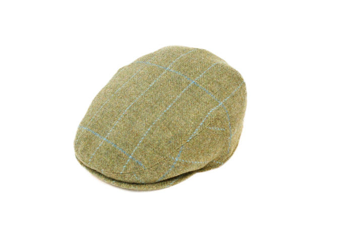 Green and Blue Windowpane Flat Cap