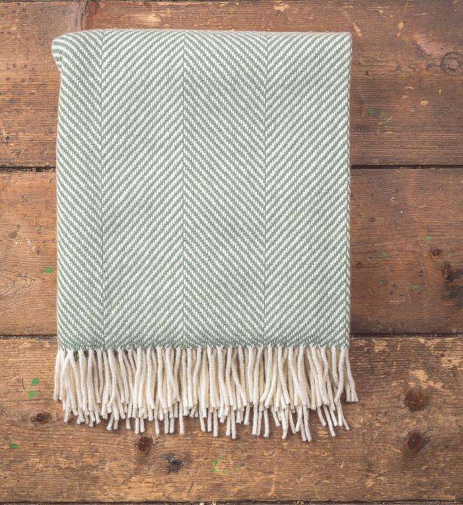 Aqua Giant Herringbone Throw