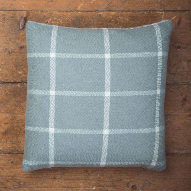 Aqua Windowpane Check Cushion