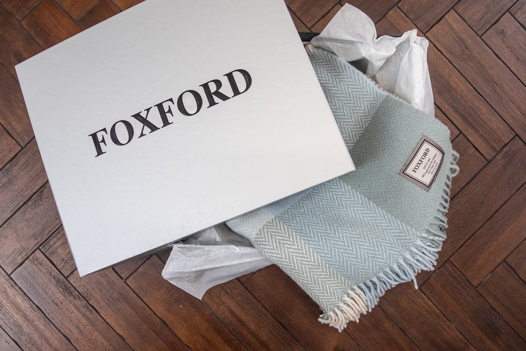 Oxford and White Herringbone Throw