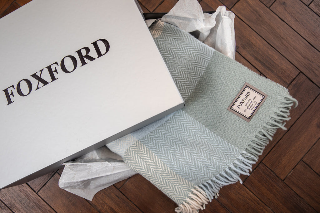 White and Pearl Grey Herringbone Throw