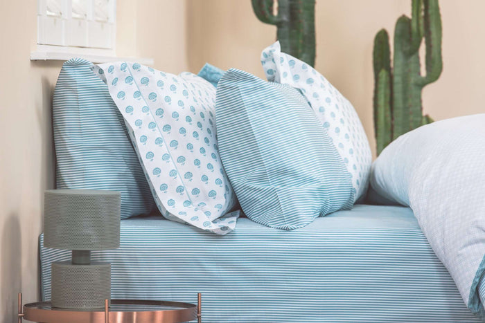 Aqua Ticking Stripe Deep Pocket Fitted Sheet