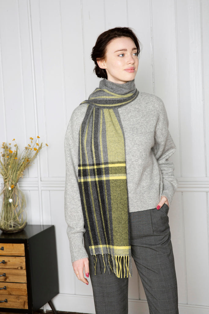 Grey and Yellow Check Border Scarf