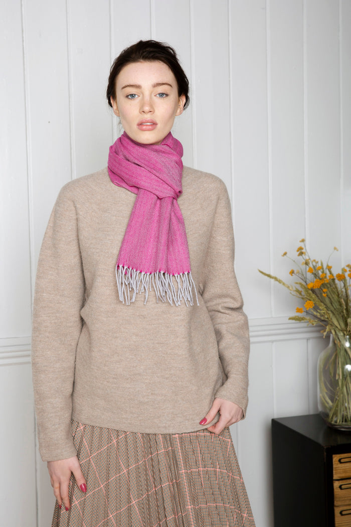 Pink & Silver -  Extra Fine Merino Scarf