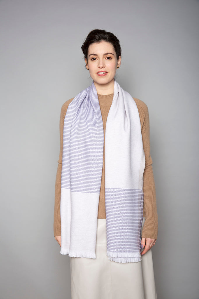 White, Mink & Purple Merino Stole
