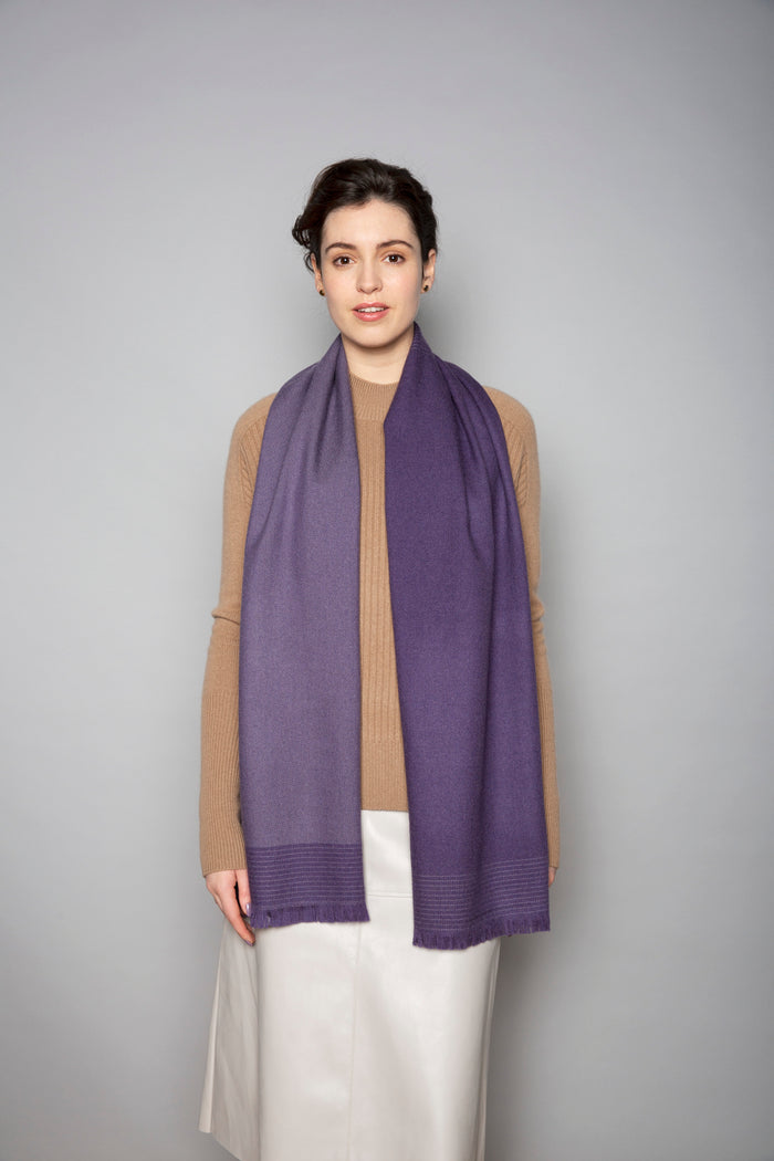 Purple & Mink Unbalanced Block Merino Stole