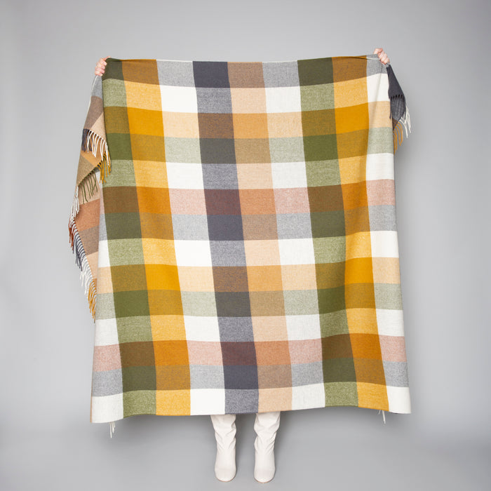 Grey, White & Mustard Block Check Throw