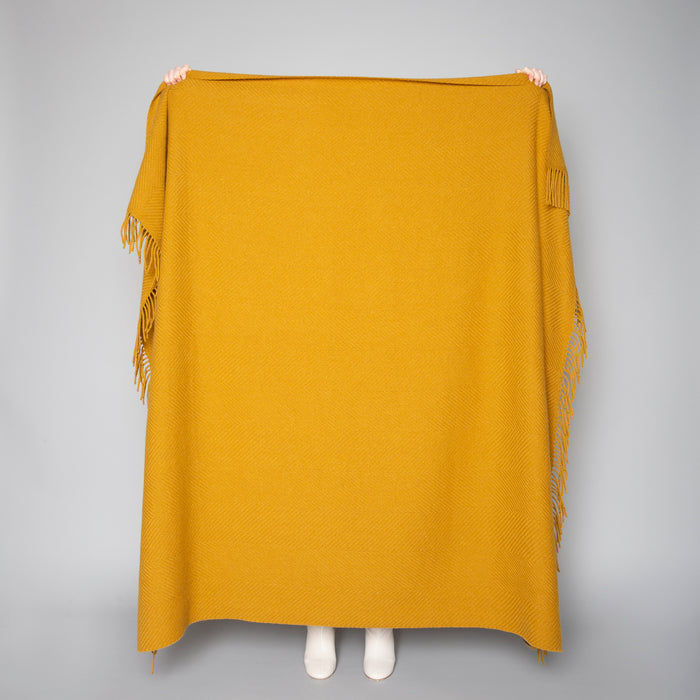 Mustard Giant Herringbone Throw