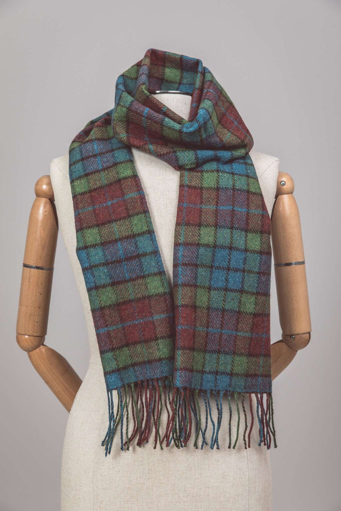 Mannequin wearing Foxford's Shannon Block Check Scarf