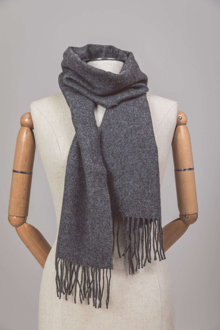 Mannequin wearing Foxford's Solid Grey Lambswool Scarf