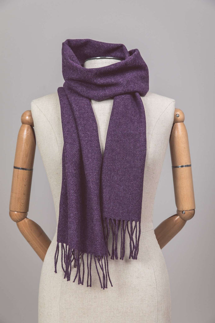 Mannequin wearing Foxford's Rich Purple Lambswool Scarf