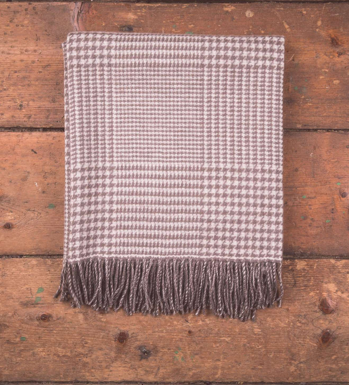 Mink Glen Check Lambswool Throw on Wooden Floor