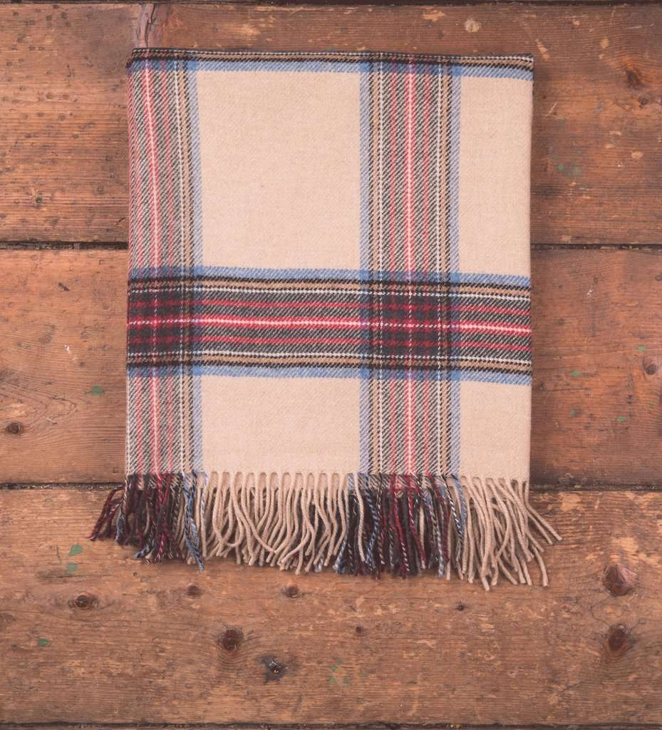 Camel Tartan Throw, Camel, Lambswool, Woven, Foxford Woollen Mills, throw, Irish Throw, Irish gift, Blanket