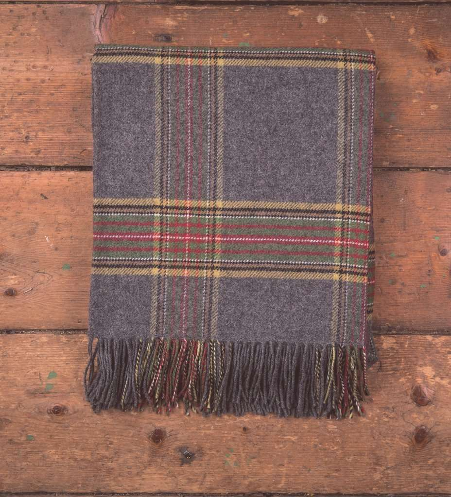 Grey Tartan Throw, Grey, Throw, Lambswool, Foxford Woollen Mills, Woven, Irish Gift, Irish Throw, Blanket, Gift idea