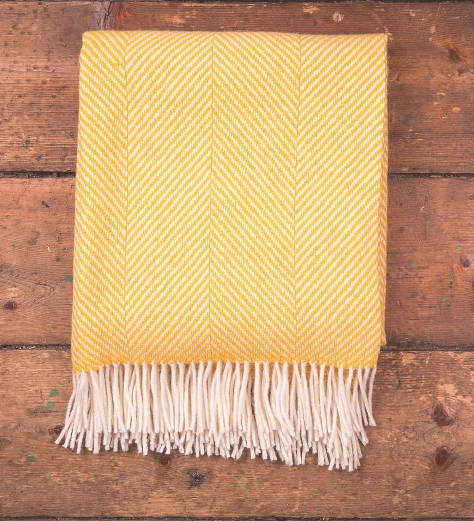 Yellow Herringbone Throw