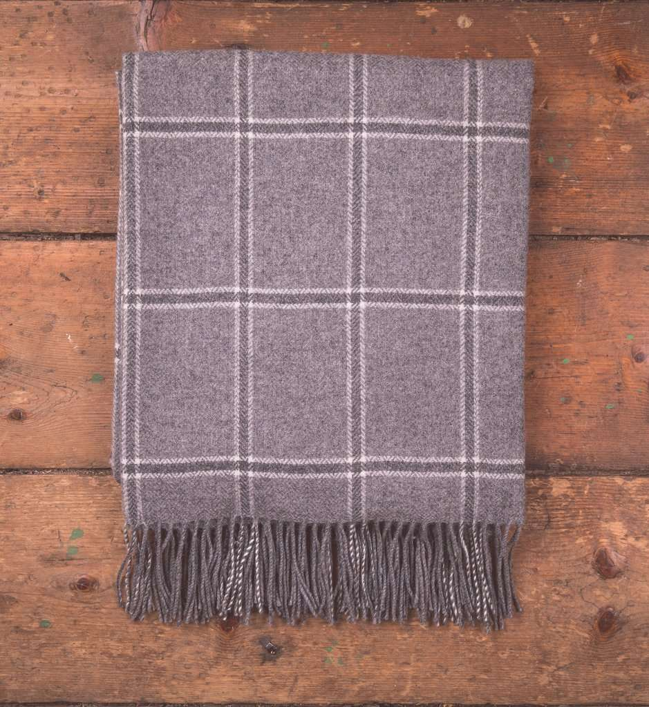Uniform Grey Windowpane Throw, Grey, Lambswool, Woven, Foxford Woollen Mills, Gift, throws, Irish throw, Blanket
