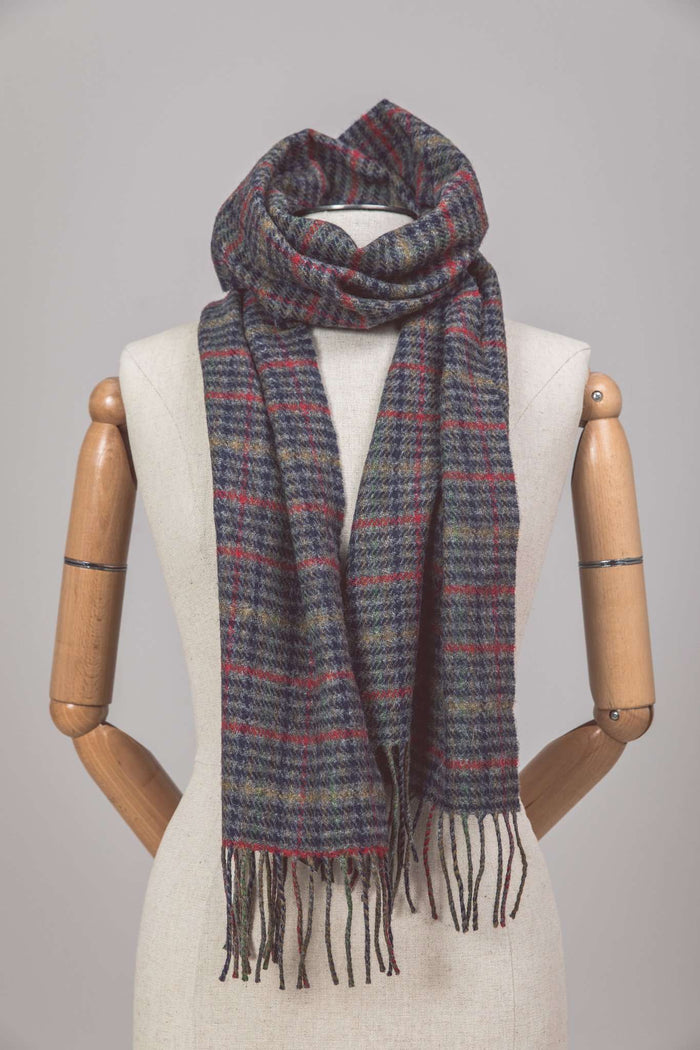 Mannequin wearing Foxford's Traditional Grey & Brown Check with Red Stripe Scarf