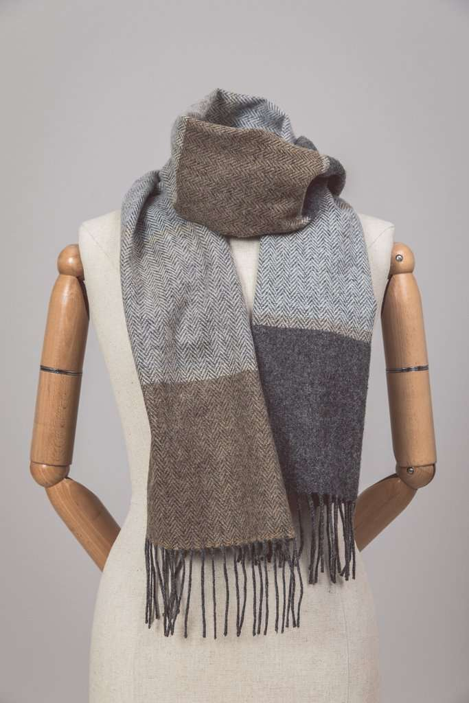 Mannequin wearing Foxford's Classic Stripe Scarf
