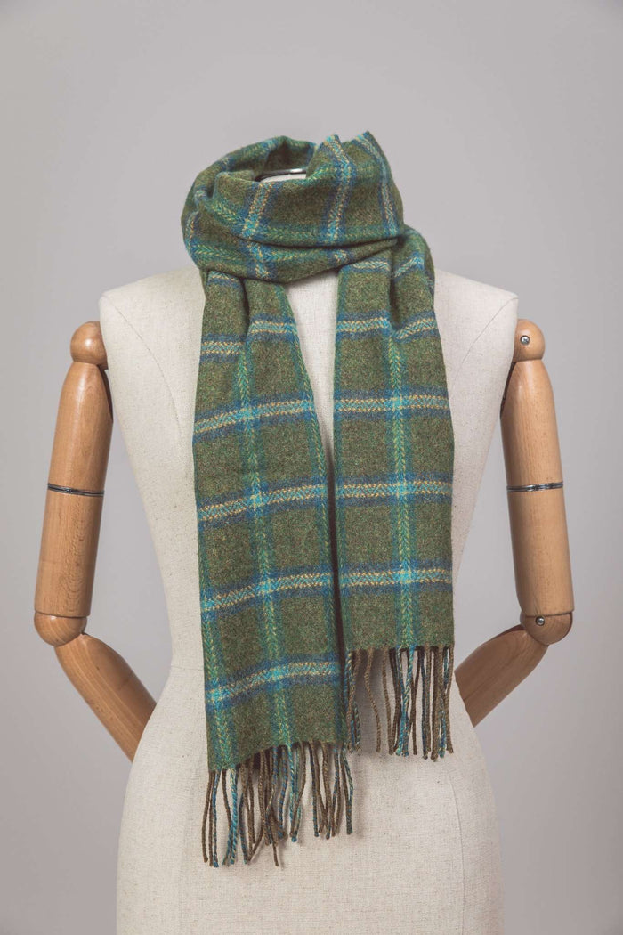 Mannequin wearing Foxford's Forest Check Scarf