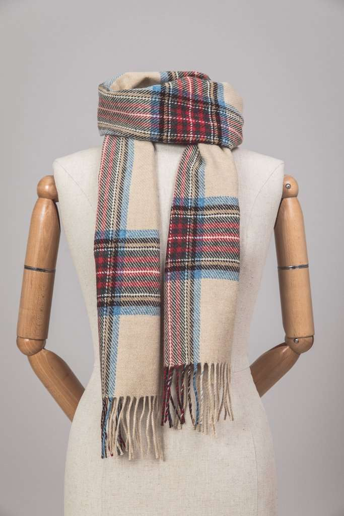 Mannequin wearing Foxford's Classic Camel Tartan Scarf