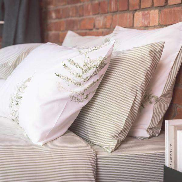 Green Ticking Pillowcase - Pair