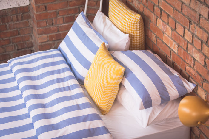 7cm Blue Stripe Housewife Pillowcase - Pair