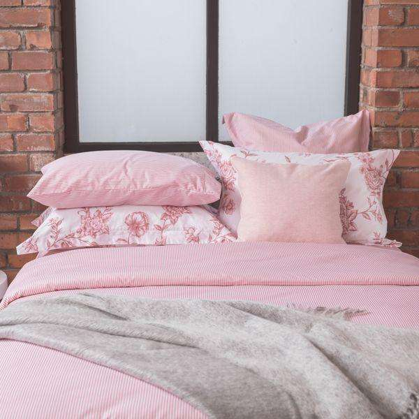 New Pink Ticking Housewife Pillowcase - Single