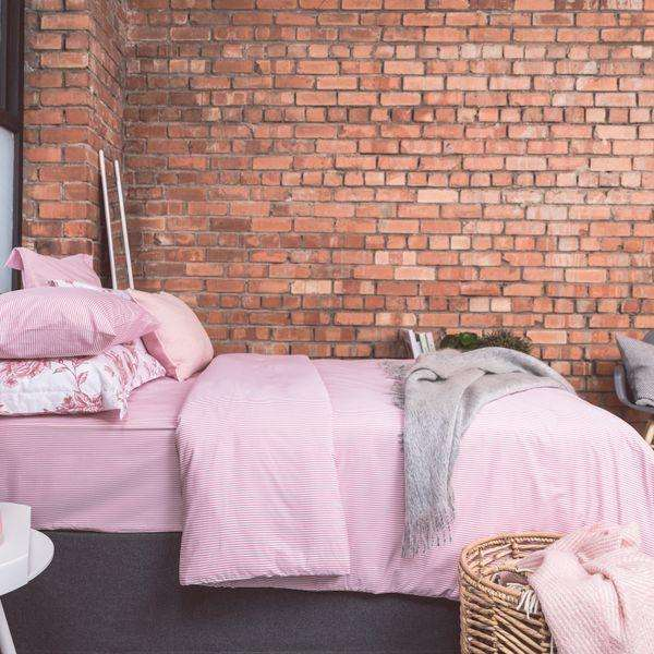 New Pink Ticking Duvet Cover