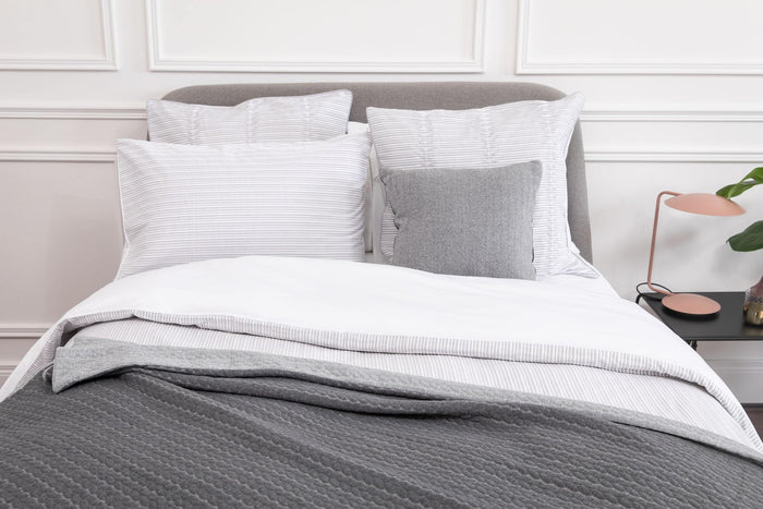 Silver, Pleats Duvet Cover, Cotton, Foxford Woollen Mills