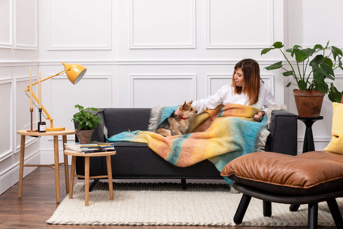 Women & Dog wrapped up in Jewel Ombreid Stripe Mohair Throw