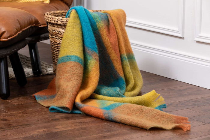 Stunning Jewel Giant Check Mohair Throw Draped out of Woven  Basket