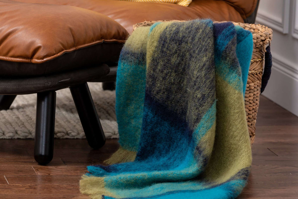 Westport Giant Check Mohair, Ocean Blue, Moss, Irish Throw, Blanket, Irish Gift