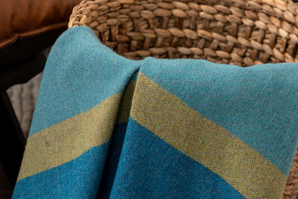 Westport Block Stripe Lambswool, Blue, Moss, Foxford Woollen Mills, Irish Throw, Blanket, Irish Gift