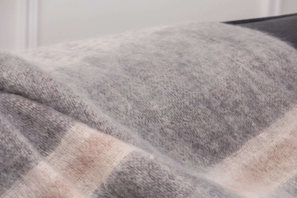 Classic Ombreid Stripe Mohair, Woven, Foxford Woollen Mills, Irish Throw, Irish Gift, Blanket
