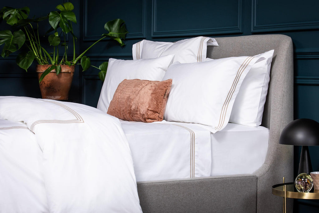 Bone 3 Row Embroidered Egyptian Luxury Bed Bundle