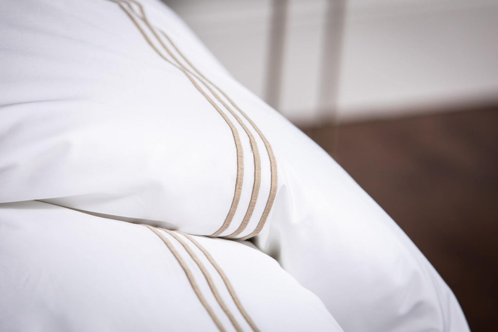 Bone 3 Row Embroidered Egyptian Bed Linen Set