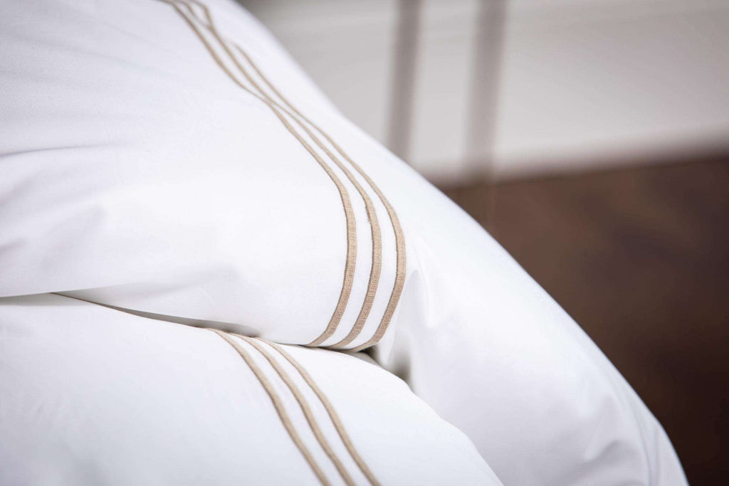 Bone 3 Row Embroidered Egyptian Cotton Flat Sheet