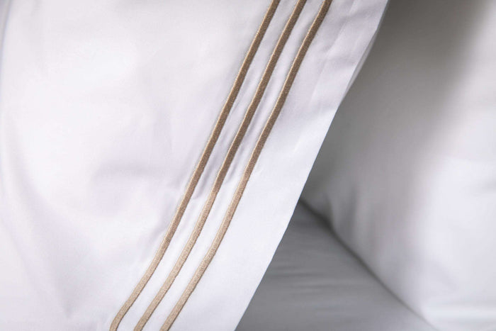 Bone 3 Row Embroidered Egyptian Cotton Pillowcase