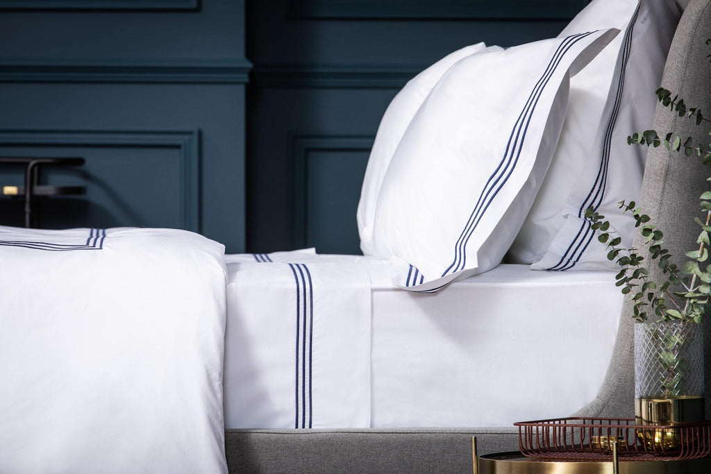Navy 3 Row Embroidered Egyptian Luxury Bed Bundle