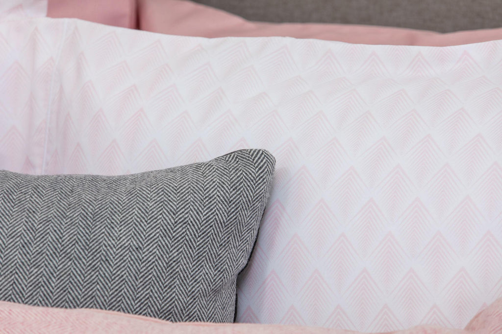 Pink, White, Geometric, Housewife Pillowcase, Pair, Cotton, Foxford Woollen Mills